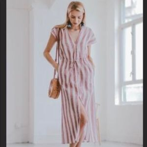 Goodnight Macaroon Morgan striped midi dress